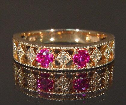 K18 ピンクサファイア ダイヤモンド リング 「blonda」指輪 サファイヤ ダイアモンド ゴールド 18K 18金 ミル打ち 誕生日 9月誕生石 刻印 文字入れ メッセージ ギフト 贈り物 ピンキーリング対応可能:アム(ジュエリー好きが集まる店)