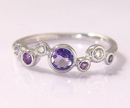 K18 グレイスフルカラーストーン ダイヤモンド リング 「saponata」送料無料 指輪 タンザナイト アメシスト ダイアモンド ゴールド 18K 18金 誕生日 12月誕生石 刻印 文字入れ メッセージ ギフト 贈り物 ピンキーリング対応可能
