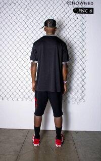 RENOWNEDLA(リナウンド)PARADISESTRIPEBASEBALLJERSEY(BLACK)[Tシャツ/カットソー/メッシュ/ジャージ/UNISEX][ブラック]