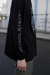 SECOND/LAYER(セカンドレイヤー)MMLONGSLEEVET-SHIRT(BLACK)[ロングスリーブ/Tシャツ/カットソー/トップス/プリント/グラフィック/ロゴ/UNISEX][ブラック]