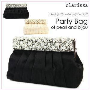 【clarissa】パールとビジューのパーティーバッグ