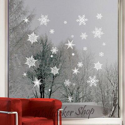 ウォールステッカー クリスマス 雪の結晶 雪の華 ホワイト クリスマスツリー サンタ 雪 x-mas xmas christmas シール 壁紙 インテリア 部屋 02P05Nov16