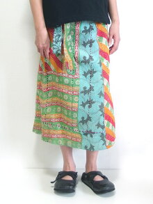 カンタ刺繍スカートリバーシブルラップスカートインドの刺し子布ラリーキルト巻きスカート