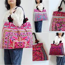 モン族刺繍トートバッグモン族のカラフルな刺繍布を両面に使った、アジアンエスニックテイストのビッグサイズのトートバッグアジアン雑貨