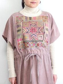 モン族草木染めワンピースモン族手刺繍手織り手染めコットン一点もの