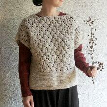 クロシェットフラワー手編みベストウール100%天然素材【シサム工房】【フェアトレード】
