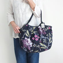 【メール便可】sisiグラニーバッグ120%ビッグサイズブロックプリント新大花ブラックsisバッグブロックプリント布バッグショルダーバッグ