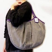 sisiグラニーバッグ120%ビッグサイズソファーフリンジグレイsisバッグA4が入る布バッグ