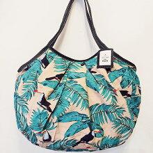 sisiグラニーバッグ120%ビッグサイズサイチョウ鳥柄ホワイトsisiバッグA4サイズが入る布バッグショルダーバッグ