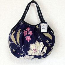 【メール便可】sisiミニグラニーバッグブロックプリント新大花ネイビーバッグインバッグちょっとそこまで布バッグsisiバッグ
