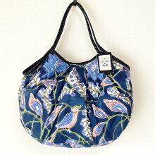 【メール便可】sisiグラニーバッグ定番サイズ大花ネイビーブロックプリントsisiバッグ布バッグショルダーバッグ