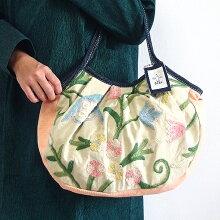 sisiグラニーバッグ定番サイズカシミール刺繍ベージュ&カメオピンクsisiバッグ布バッグ