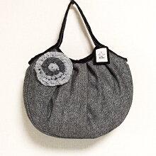 sisiグラニーバッグ定番サイズコサージュバッグブラックsisiバッグ布バッグショルダーバッグ
