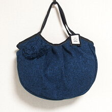 sisiグラニーバッグ定番サイズコサージュバッグブルーsisiバッグ布バッグショルダーバッグ