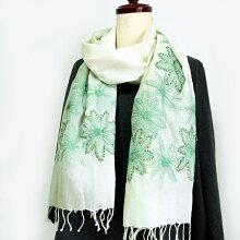 コットン刺繍ストール天然素材綿100%のショールグリーンスパンコール