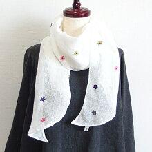 【メール便】リネンフワラードット手刺繍バイアスミニショール天然素材麻100%