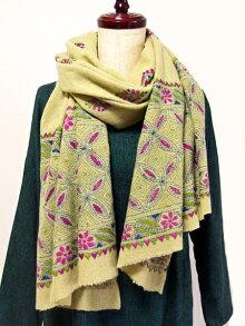 カンタ刺繍ウールショール46イエローグリーン天然素材ウール100%