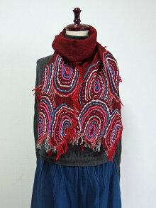 ウール100%ぐるぐる刺繍ショール49天然素材手刺繡