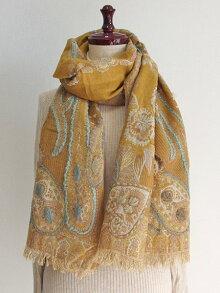 ウールコットンペイズリー花刺繍ショール52天然素材100%手刺繡