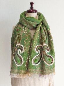ウールコットンペイズリー刺繍ショール53天然素材100%手刺繍