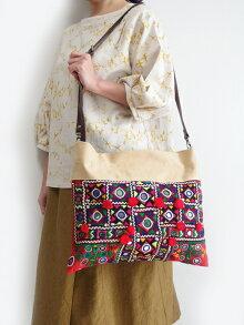 ミラーワーク刺繍ショルダーバッグインドの刺繍布肩掛けバッグ