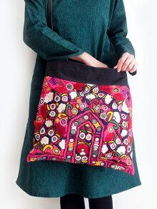 ミラーワーク刺繍ショルダーバッグインドの刺繍布肩掛け/斜めがけバッグ