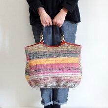 さきおりバッグインド裂き織りトートバッグ手さげバッグ