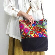 ミラーワーク刺繍トートバッグインドの刺繍布