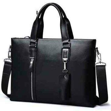 【スーパーSALE対象商品】 ビジネスバッグ ブリーフケース 斜めがけ メンズ レザー 革 A4 ショルダー 軽量 通勤 斜め掛け 黒 バック カバン 鞄 かばん bag bag-64 【予約商品】