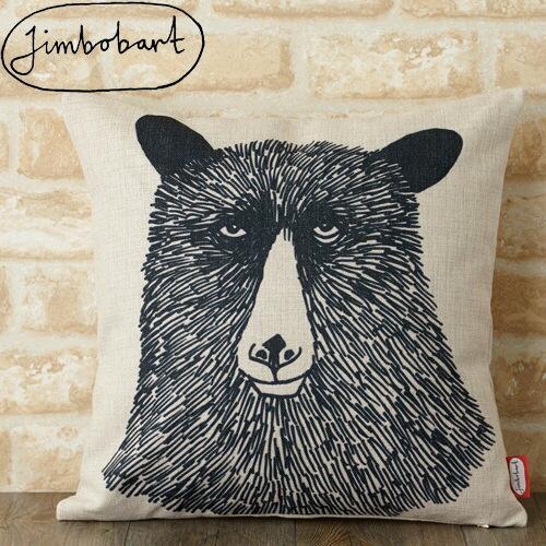 ジムボバート クッションカバー Jimbobart クマ 熊 英国 デザイン 45×45cm デザイナーズ アニマル リネン 天然の麻で出来たハンドメイド クマ 動物 イギリス プレゼント ギフト 新生活 新居 引越し祝い 新築 子供 家 おうち 在宅 おしゃれ