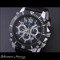 サルバトーレマーラSM13115-SSBKSVアルミクロノグラフ腕時計革ベルトメンズSalvatoreMarraクオーツ時計