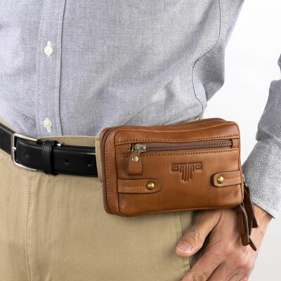 鞄バッグ革メンズミラグロUSA製オイルドレザースマートベルトポーチ