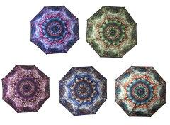 幾何学デザインフラワー花柄星空宇宙折りたたみ折り畳み傘かさ晴雨兼用軽量オシャレニスタオシャレUPF40+UVカット
