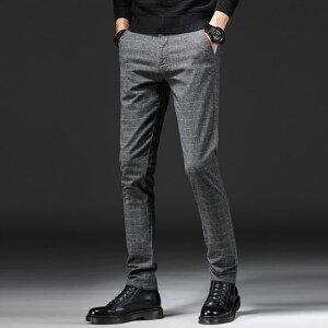 パンツ メンズ スラックス チェック ビジネスパンツ ボトムス ズボン スリム 春夏 ビジネススラックス 紳士 ノータック メンズパンツ 家庭洗濯可