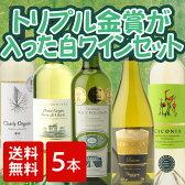 [送料無料][白ワイン][5本セット] トリプル金賞入り!世界の白を飲みくらべる!よくばり白ワイン5本セット ワインセット