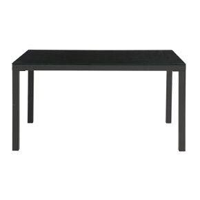 ダイニングテーブル幅135cmブラック黒ガラス製モダン風