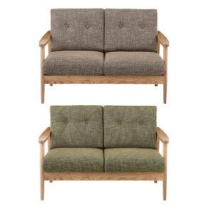 2人掛けソファー肘付き〔ブラウン、グリーン(緑)〕〔布張り製〕