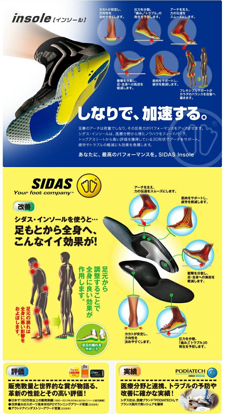 SIDASシダスRUN3Dインソール326903陸上ランニング用品スポーツ用ランスリーディー中敷き中じき衝撃吸収外反母趾偏平足土踏まず