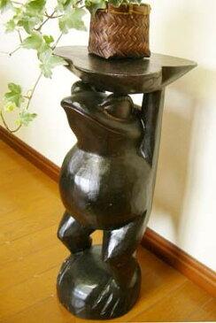 4月中旬入荷予定 インテリア小物 置物 おしゃれ かわいい 花台 カエルグッズ (ブラウンカエルの花台50cm) アジアン雑貨 バリ フラワースタンド オブジェ 木製 エスニック リゾート