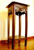 花台 木製 アジアン家具 バリ ♪バリ島の花の彫刻サイドテーブル♪ 【送料無料】【YAYAPAPUS】 サイドテーブル フラワースタンド 電話台 FAX台 エスニック