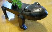 アジアン家具 バリ ♪カエルのテーブル台(M)♪ 【送料無料】【YAYAPAPUS】 サイドテーブル 木製 花台 エスニック