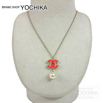 CHANEL Color COCO mark Pearl necklace red × Gold A63156