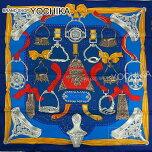 """��SUMMERSALE�����桪��HERMES�����������ե���70""""��/Etriers""""�ޥ��X�������X�֥롼���륯100%����(HERMESCarre70Scarf""""Etriers""""Marine/Caramel/BleuSilk100%)�ڤ������б��ۡڳڥ���_������#yochika"""