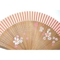 扇子さくら赤シルク100%【京都】母の日父の日誕生日ギフト結婚祝い