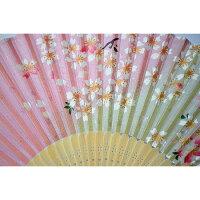 扇子ラメ桜藍シルク100%【京都】母の日父の日誕生日ギフト結婚祝い