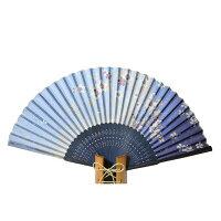 シルク扇子ラメ桜藍絹扇シルク100%【京都】母の日父の日誕生日ギフト結婚祝い