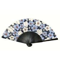 扇子大桜青シルク100%【京都】母の日父の日誕生日ギフト結婚祝い