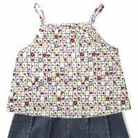ふわっとスカートとシュシュのセット♪子供服-フレンチロマン-キャミソール(100cm、130cm)【...