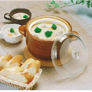 【1個】万古焼シチューポット1個 日本製 陶磁器 万古焼 耐熱陶器 シチューポット 直火OK 鍋 ガラス蓋 煮込み料理 調理 キッチン用品 土鍋
