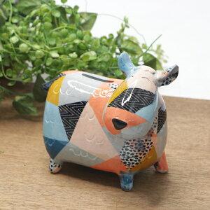 アニマル貯金箱 コインバンク カラフル かわいい 牛 ウシ 置物 オブジェ ディスプレイ